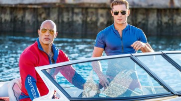 "Dwayne Johnson (left) and Zac Efron in Paramount Pictures' big-screen adaptation of ""Baywatch."""