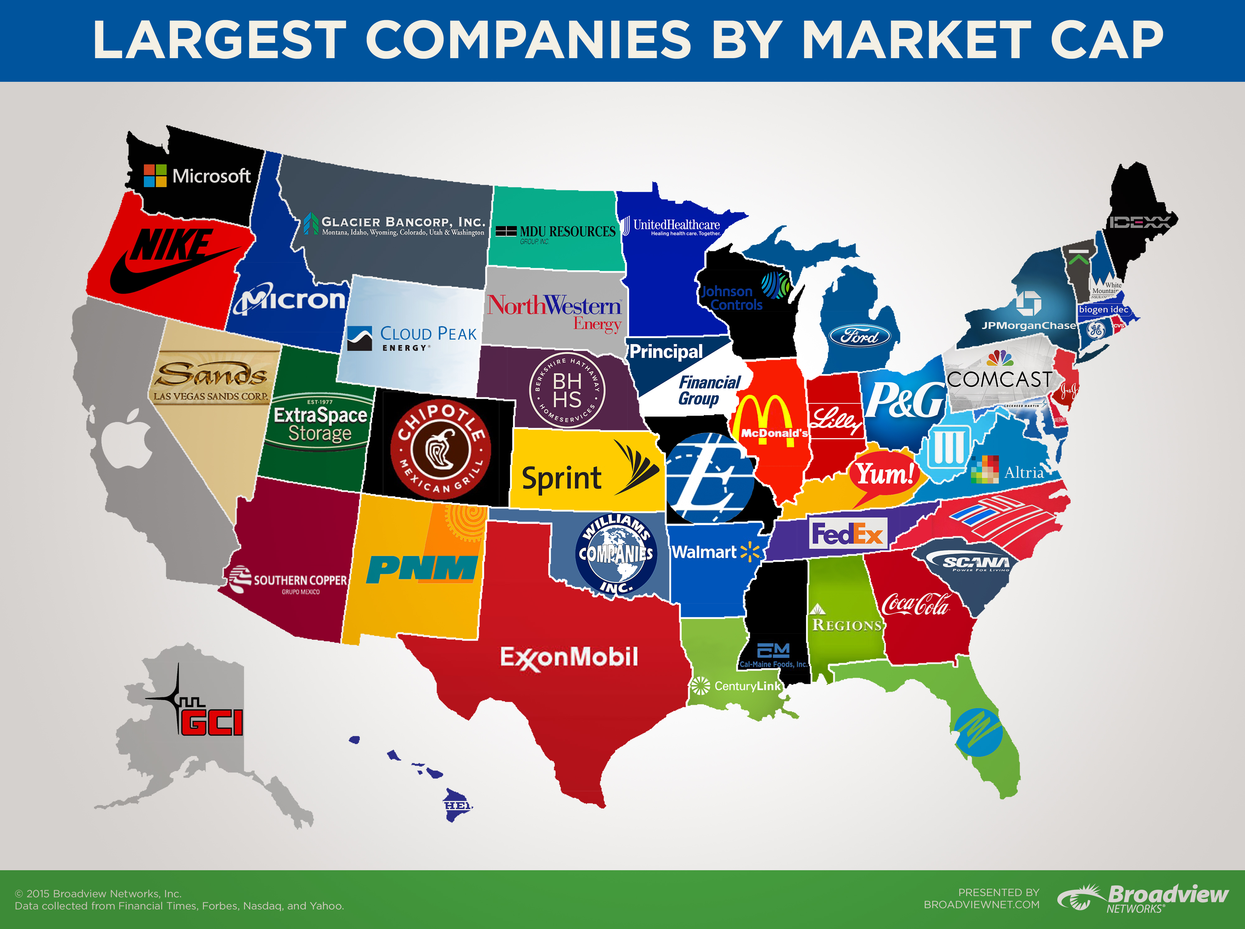 This map shows the biggest company in each state by market ...