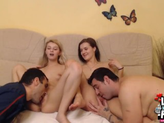 Lesbo fun finish with swap fuck – cum in face and pussy