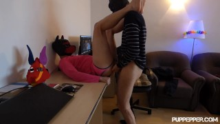 Pup rough fucked in the office by an alpha teen