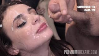 Bukkake - Kate Rich swallows 141 huge mouthful cum loads