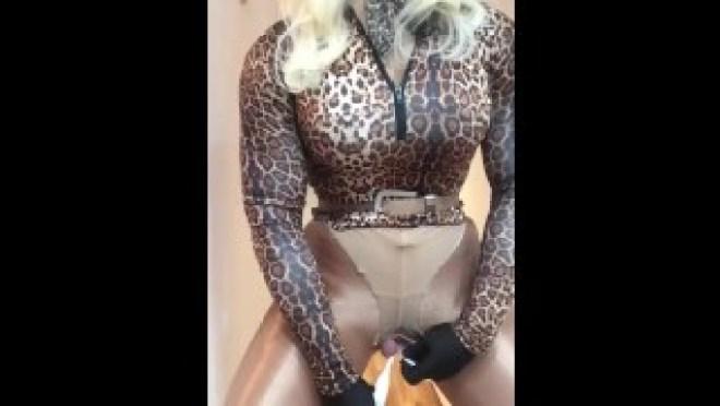 Sloan's cock & balls (trans, female mask fetish, crossdress, transform, masturbation, pantyhose)