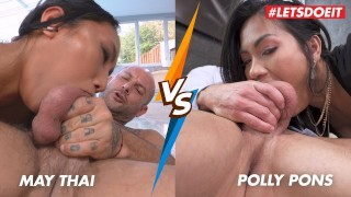 May Thai VS Polly Pons - Rough Asian Anal And Deepthroat! Who Does Is Better? - LETSDOEIT