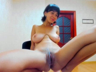 Hot Myla_Angel sucks her tits and drips milk on pussy!