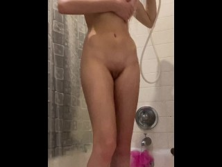 Fucking Pussy with a Dildo in the Shower and Playing with Soapy Tits