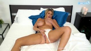Big tittied MILF masturbates before her husband comes home