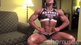 Sexy mature female bodybuilder poses and flexes