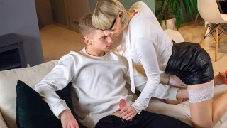 TUTOR4K. Guy makes move on blonde tutor after discovering her sex toys