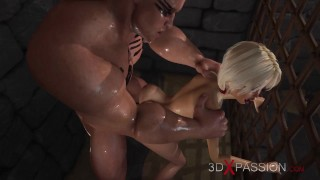 Young virgin blonde and a big cock in the dungeon