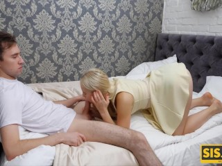 SISPORN Love gets off being banged by stepbro after a blowjob by festive table