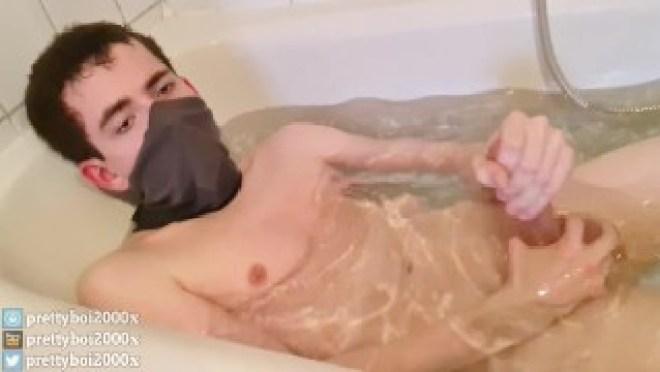 Cute Moaning Femboy Slut wanks and cums inside hot warm bath