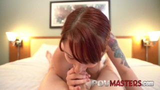 Natural Busty MILF Redhead Violet Monroe POV TittyFuck and Sex