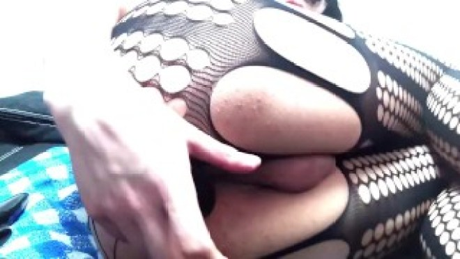 Masturbating with anal toy