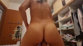 Beautiful rider with a big butt and a narrow pussy gets sperm inside POV