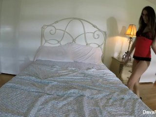 Busty brunette Dava's home video masturbation