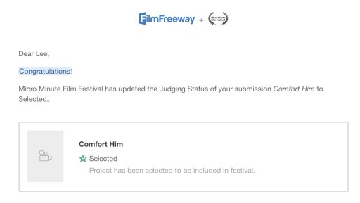 Selection email grab from Film Freeway