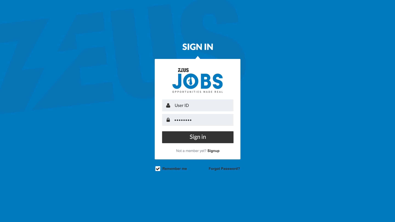 Zeus Jobs – Login