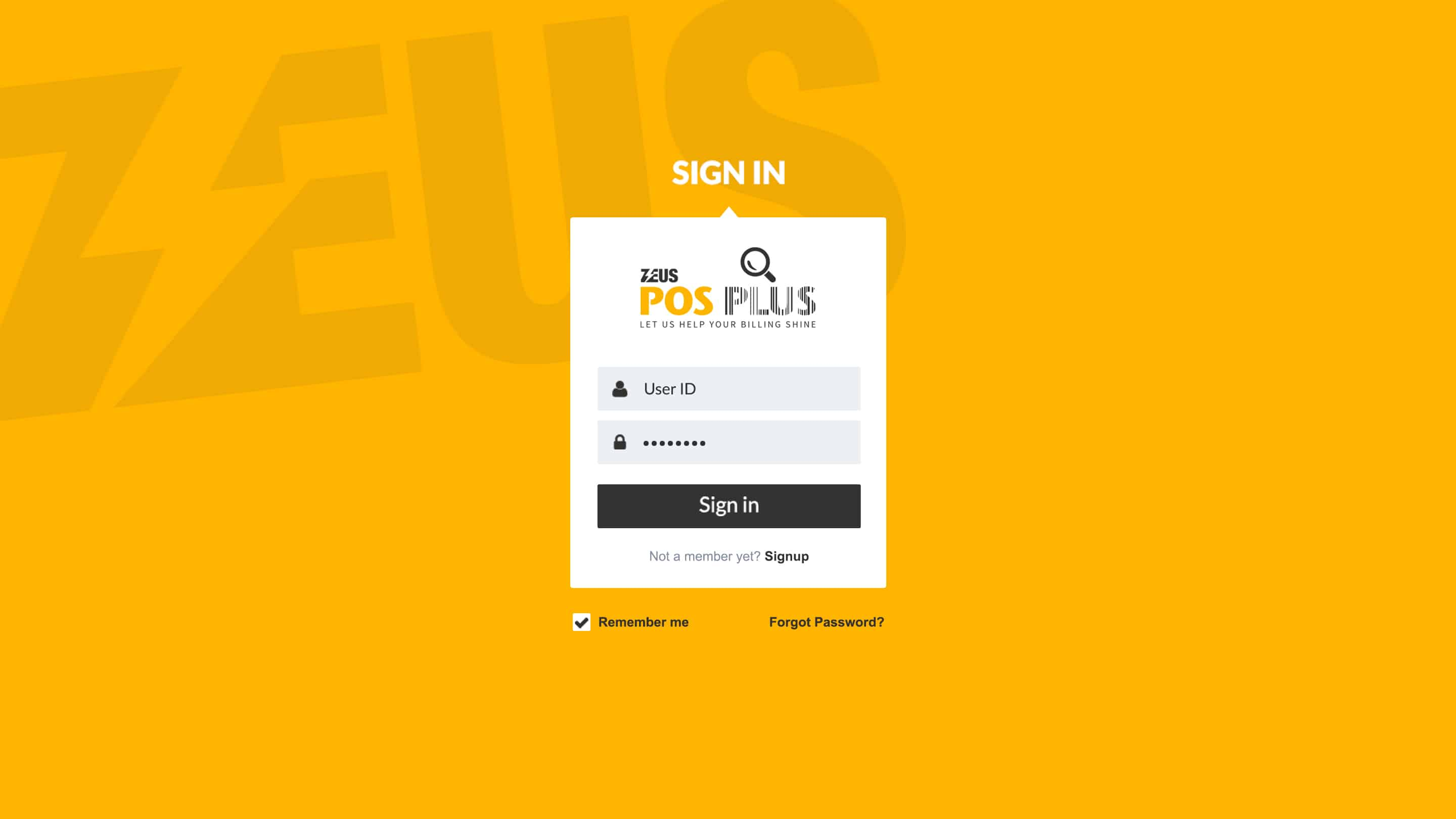 Zeus POS Plus – Login