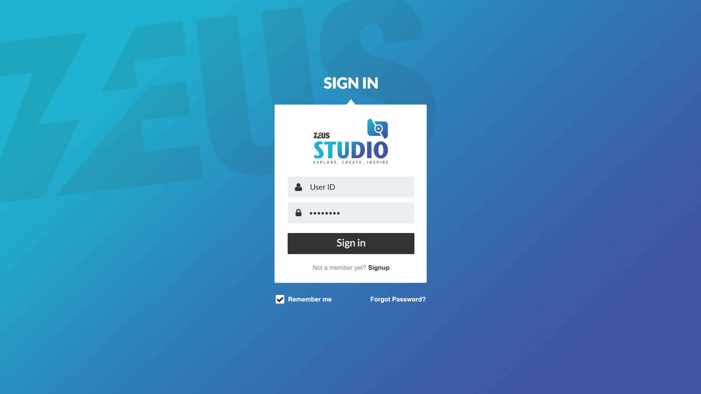 Zeus Studio – Login