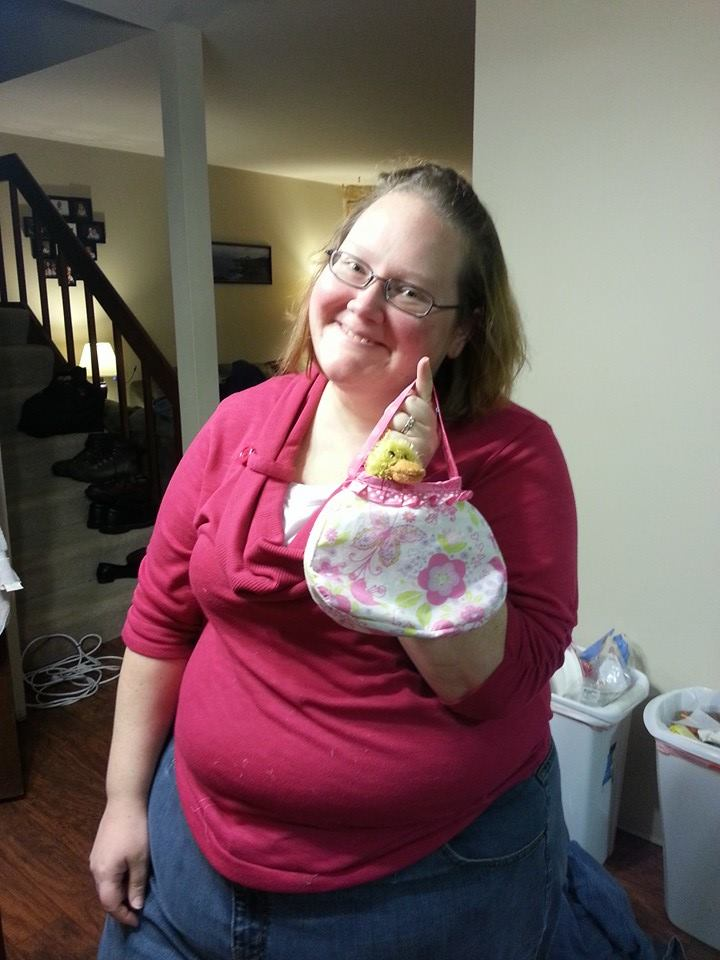 My lovely wife Jessica with another purse she made for Namine.