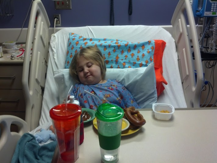 Namine resting after the successful PICC line placement