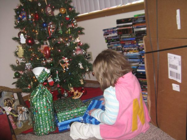 Namine was so thrilled with her cape, she insisted on wearing it for opening presents the next morning.