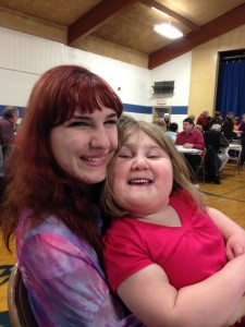 Namine with her Aunt Lydia at the church dinner.