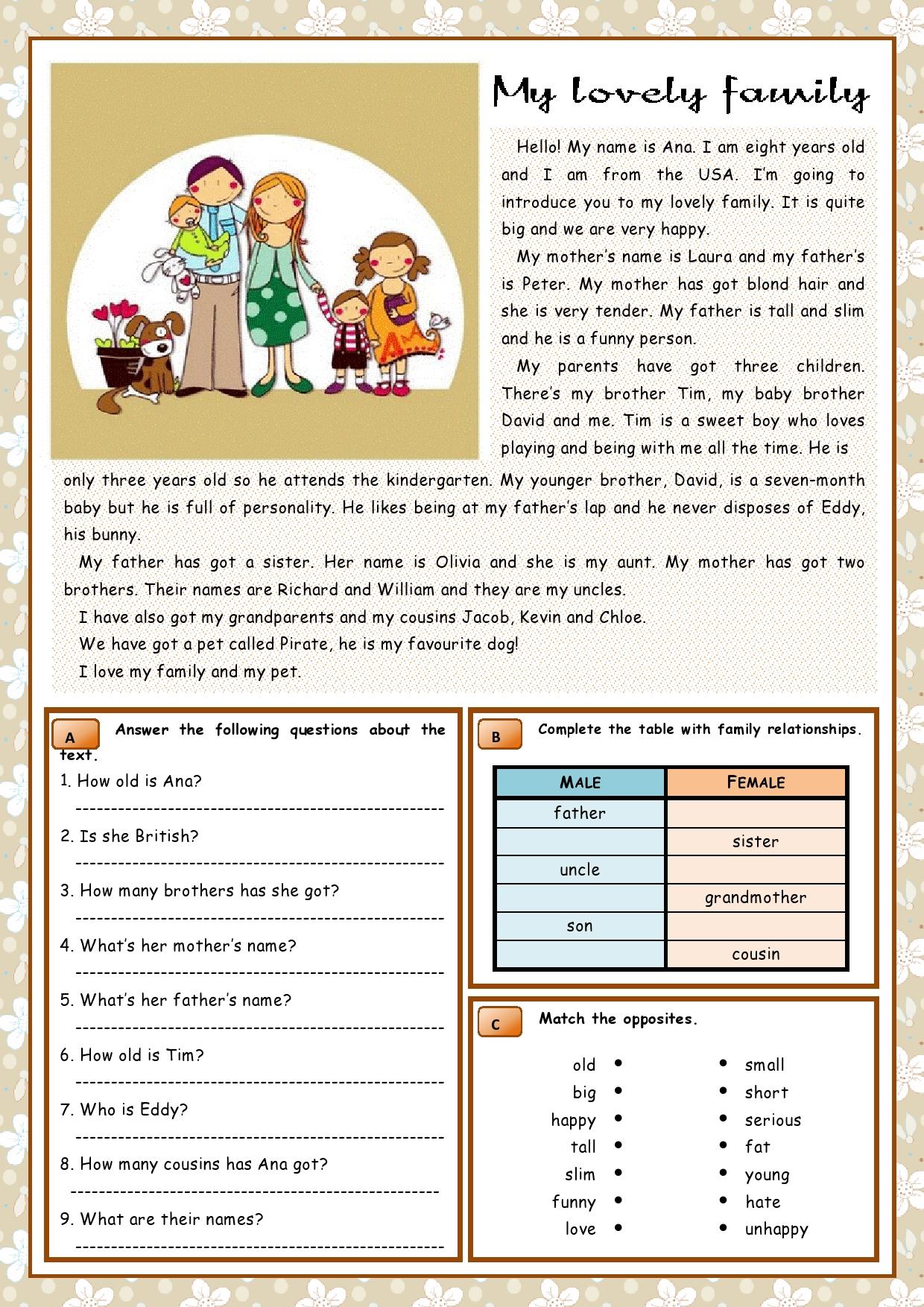 Lovely Family Reading Worksheet Eic