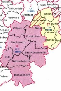 Die Gemeinde Weilerswist soll bei der Landtagswahl zukünftig zum Wahlkreis 27 Rhein-Sieg-Kreis III gehören. Grafik: IT.NRW