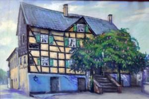 So wie auf diesem Gemälde, sah das Haus um 1900 aus. Repro: Reiner Züll