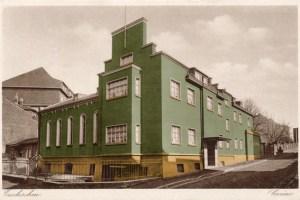 Hermann Verbeek hat dem Casino in Euskirchen auf diseser alten Postkarte mit dem Originalanstrich von 1941 versehen. Bild: Hermann Verbeek