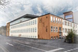Das Schulgebäude von der Kreuzung aus gesehen. Bild: Stadt Schleiden