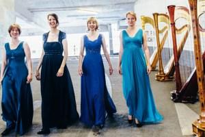 """Das Harfenquartett """"arpalando"""" eröffnet das Eifeler Musikfest mit einem Kammerkonzert unter dem Motto """"Mit vier Harfen um die Welt"""". Foto: Nadine Targiel"""