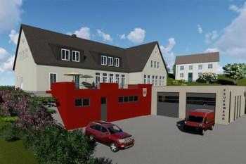 Die ehemalige Schule mit dem zukünftigen Feuerwehr-Anbau in einer Simulation. Bild: Architekt Dimmer