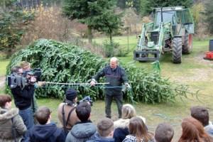 Förster Karl-Heinz Lentzen bereitet den Weihnachtsbaum auf seine lange Reise in den Bundestag vor. Bild: Naturpark Nordeifel