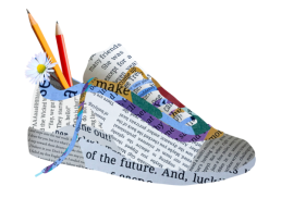 Shoe design made out of student writing