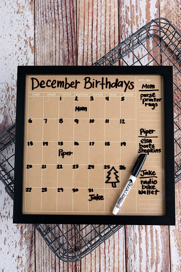 Dry Erase Birthday Calendar. Put it together in under 5 minutes!