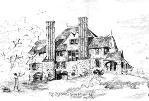 Drawing of William Ingraham Russell's home and barn in Millburn