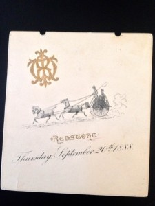 The original engraved invitation for Russell's  celebration at his barn.