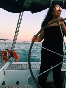 Sailing off the coast of Barcelona