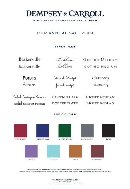 Correspondence Card Sale 2019 Offerings