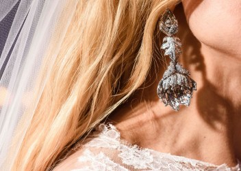 A shot from my wedding day of the earrings I collaborated on.