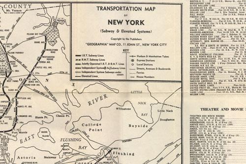 Panoramic Map of New York City, Transportation map