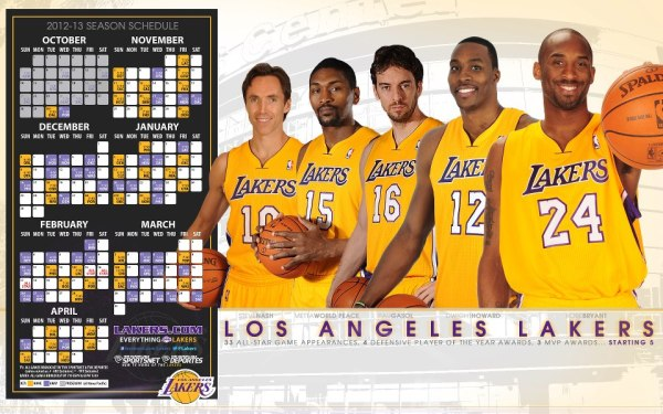 Sports: Los Angeles Lakers 2012 – 2013 Season Schedule ...
