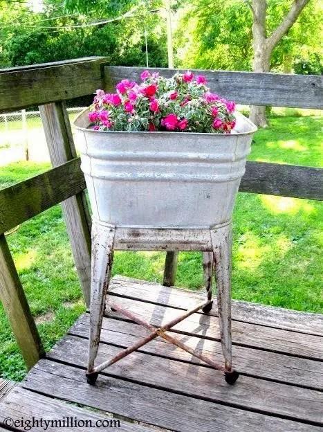 DIY Recycling Inspiration: Galvanized Vintage Basin Into a Flower Pot