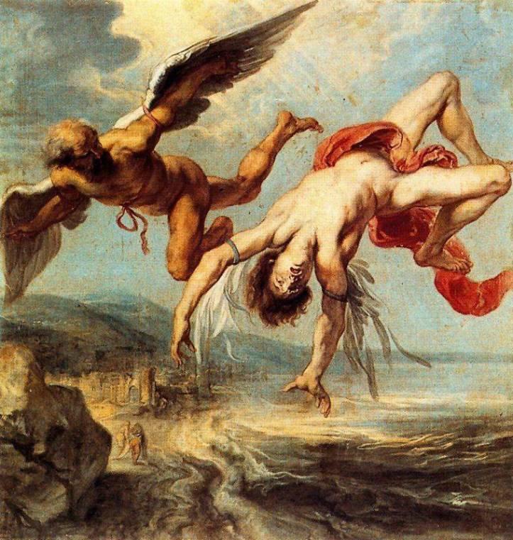 一石二鳥 英語 - ダイダロスとイカロスの油絵-函館英会話教室EigoLa