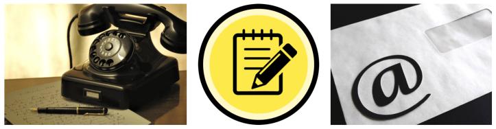 無料体験レッスン - 申込を表している電話、メモ用紙と封筒のイラストと写真 - 函館英会話教室EigoLa