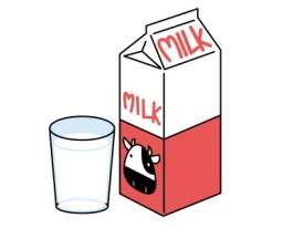 パック牛乳と牛乳が入ったコップ