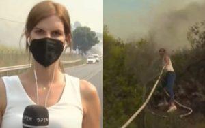 Read more about the article Δημοσιογράφος του OPEN φεύγει live από την κάμερα και πιάνει την μάνικα για να βοηθήσει τους πυροσβέστες