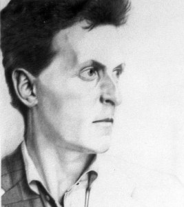 A portrait in pencil of Ludwig Wittgenstein. His face is angular and he looks intense and pensive.
